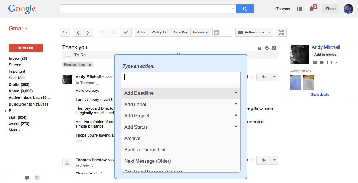 Screenshot of Active Inbox Gmail Plugin project
